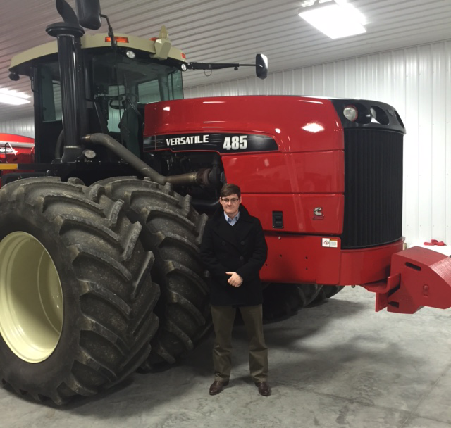 Drew Pigott and a tractor in Indiana